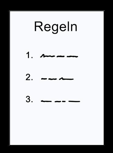 Papier mit 3 Regeln.