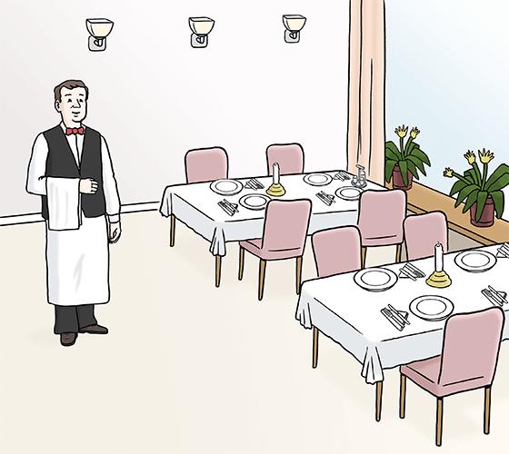 Ein Kellner in einem Restaurant.