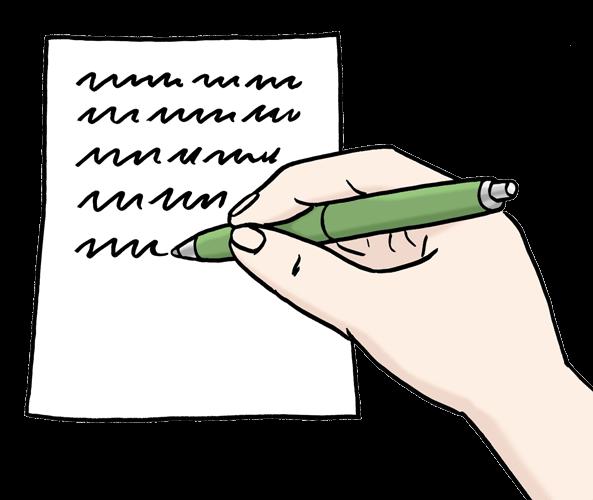 Eine Person schreibt etwas auf ein Papier.