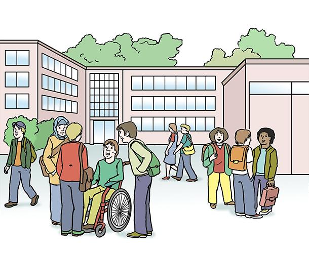 Schul-Gebäude mit Menschen.