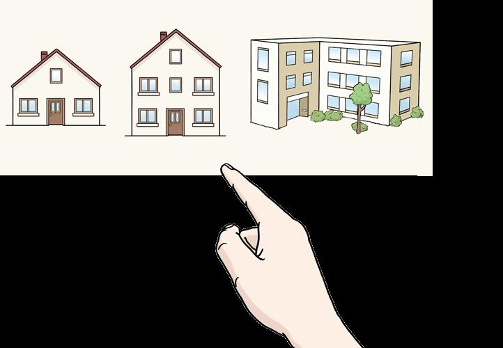 Selbstbestimmung Wohnen: Eine Hand zeigt auf drei verschiedene Häuser.