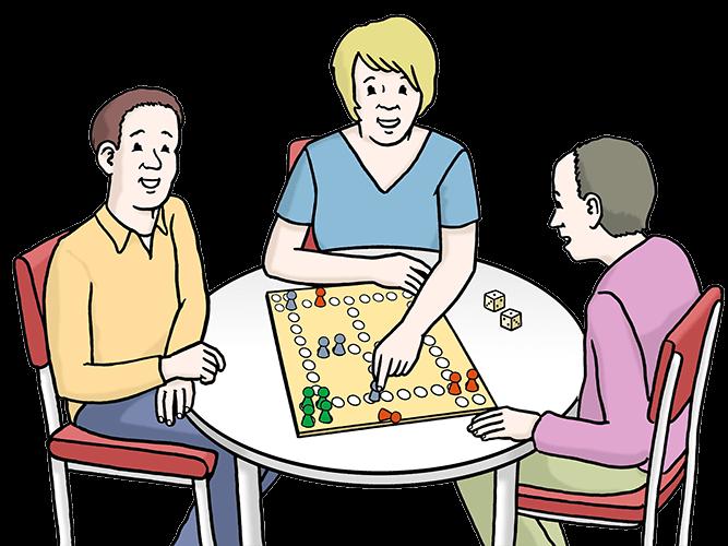 3 Personen spielen zusammen ein Brett-Spiel.
