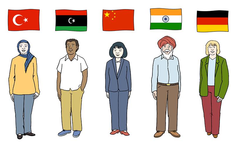 Personen aus verschiedenen Ländern mit den Flaggen dieser Länder