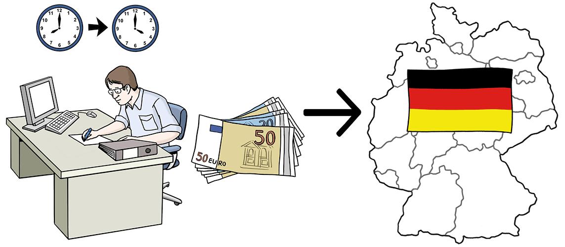 Ein Mann arbeitet im Büro und zahlt Steuern an Deutschland.