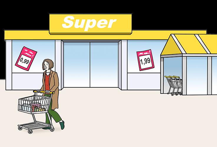 Eine Frau mit Einkaufswagen von einem Supermarkt.