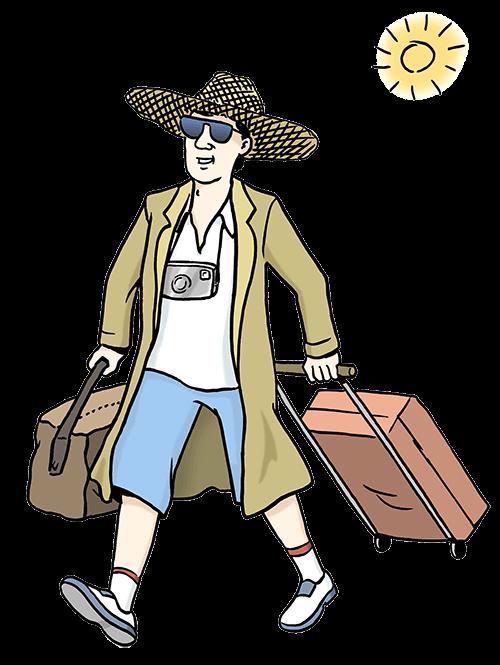Ein Mann geht mit einem Koffer in den Urlaub.