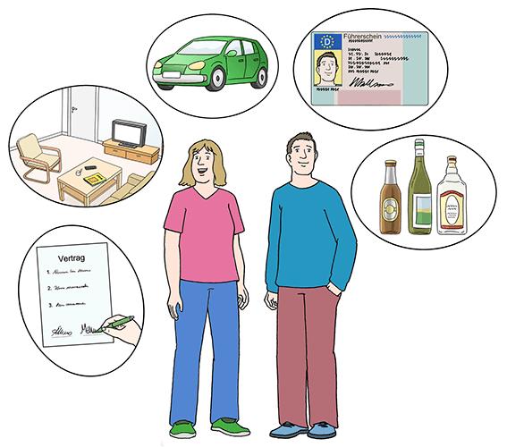 Die Personen auf dem Bild sind über 16 Jahre alt. Sie dürfen mehr als Kinder. Beispiel: Sie dürfen Alkohol trinken. Sie bekommen einen Personal-Ausweis.