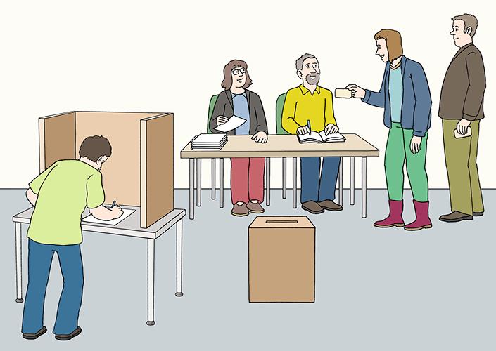 Wahl-Raum mit Menschen.