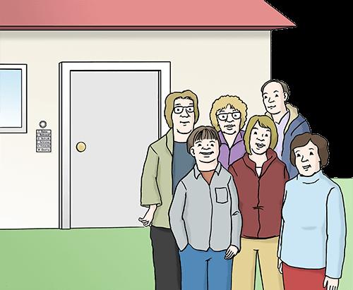 Wohn-gruppe: Mehrere Personen stehen vor einem Haus.