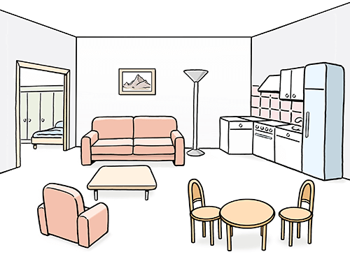 Bild von einer Wohnung mit Möbeln.