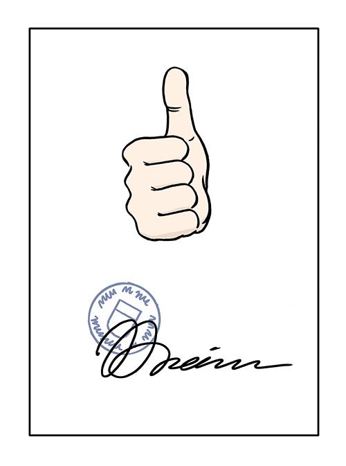 Zusage: Papier mit Stempel und Unterschrift und dem Zeichen: Daumen hoch.